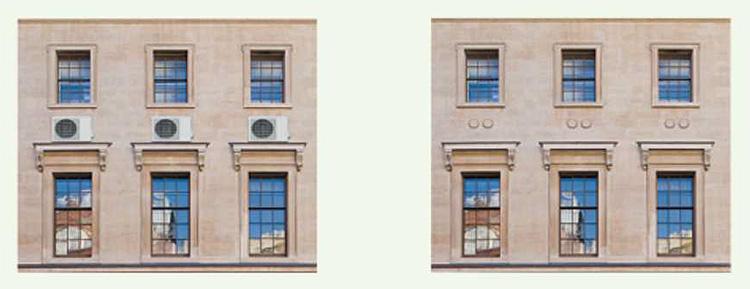 Comparação na fachada do edifício